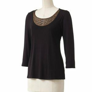 Dana Buchman | Embellished Top 3/4 Sleeve Sz L